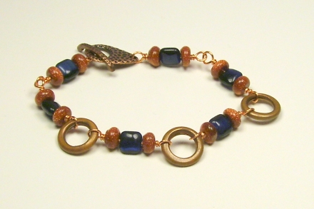 Handmade Copper & Gemstone Bead Bracelet